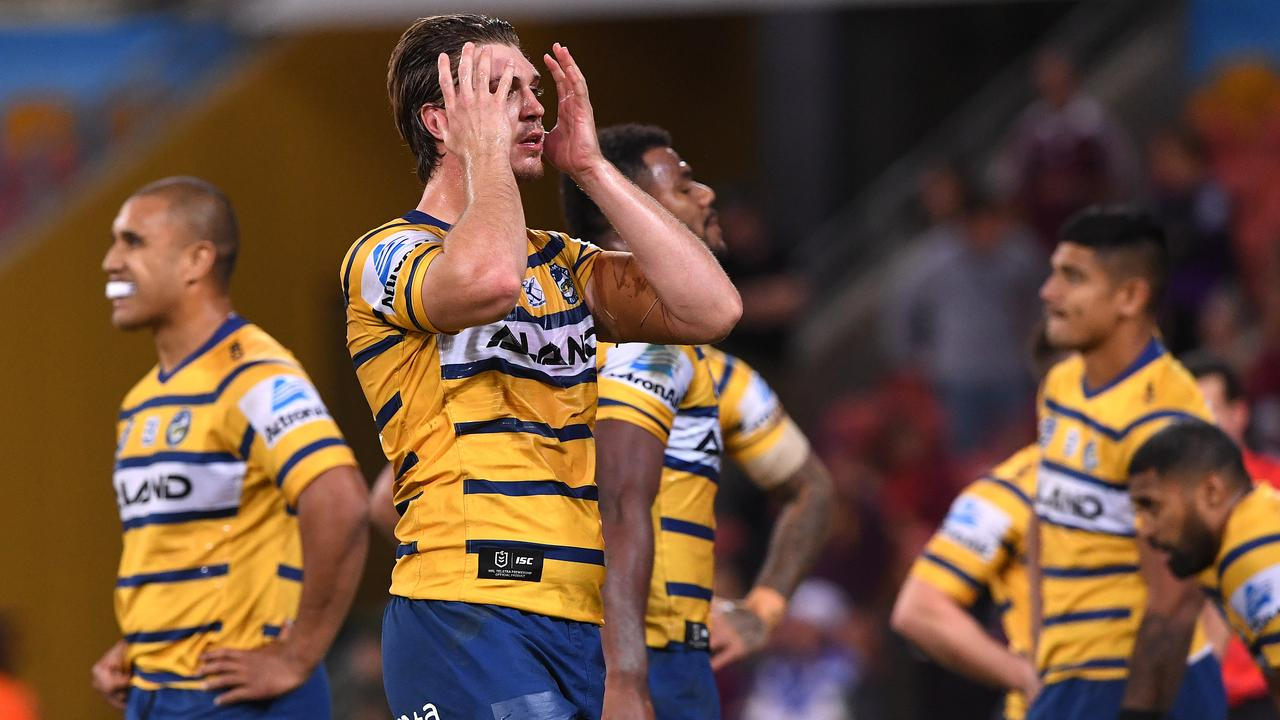 Parramatta Eels players during the humbling loss to the Melbourne Storm.