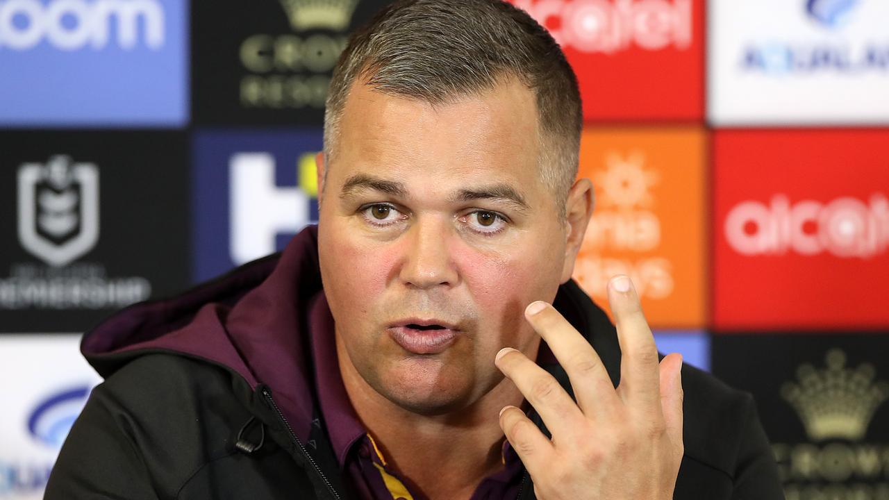 Broncos coach Anthony Seibold speaks to the media after another loss.