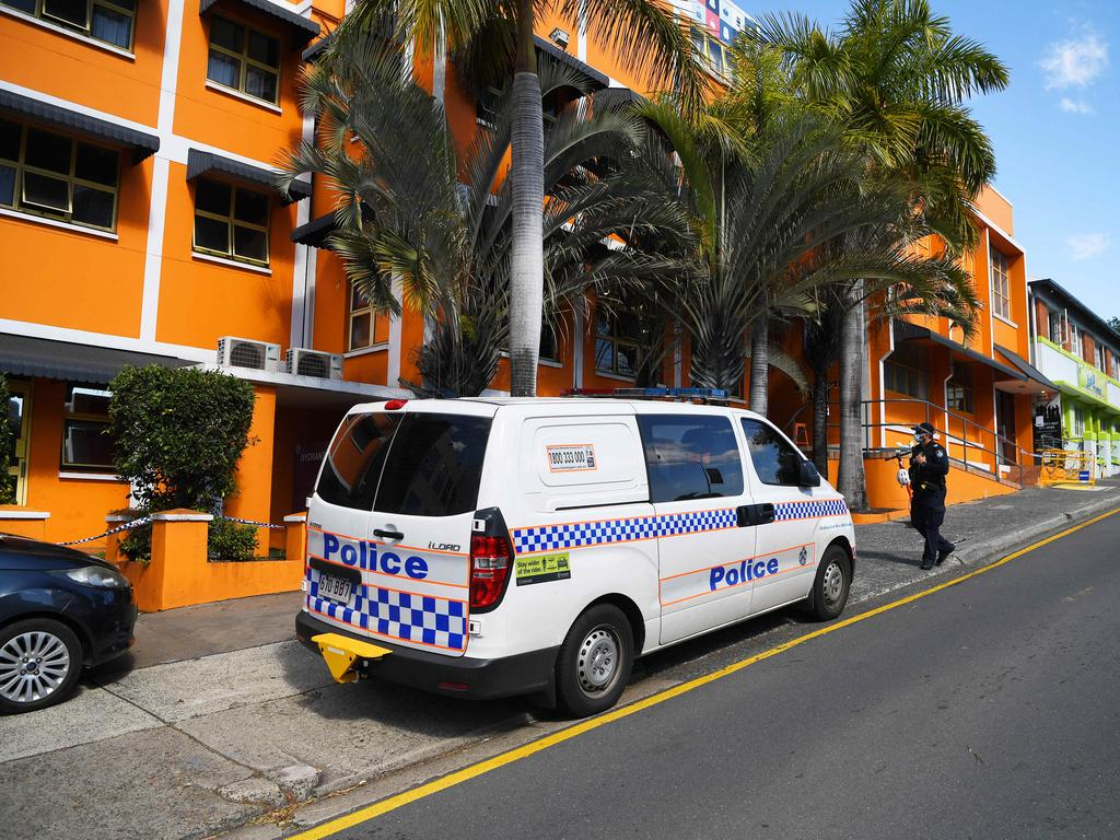 Police secure the City Backpackers hostel in Brisbane after the latest Covid-19 exposure scare. Picture: Dan Peled/NCA NewsWire