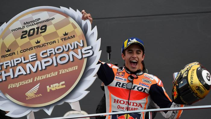 Repsol Honda Team's Spanish rider Marc Marquez celebrates after winning the MotoGP race of the MotoGP Valencia Grand Prix at the Ricardo Tormo racetrack in Cheste near Valencia, on November 17, 2019. - World champion Marc Marquez clinched his 12th MotoGP victory of the season in final race in Valencia. (Photo by PIERRE-PHILIPPE MARCOU / AFP) (Photo by PIERRE-PHILIPPE MARCOU/AFP via Getty Images)
