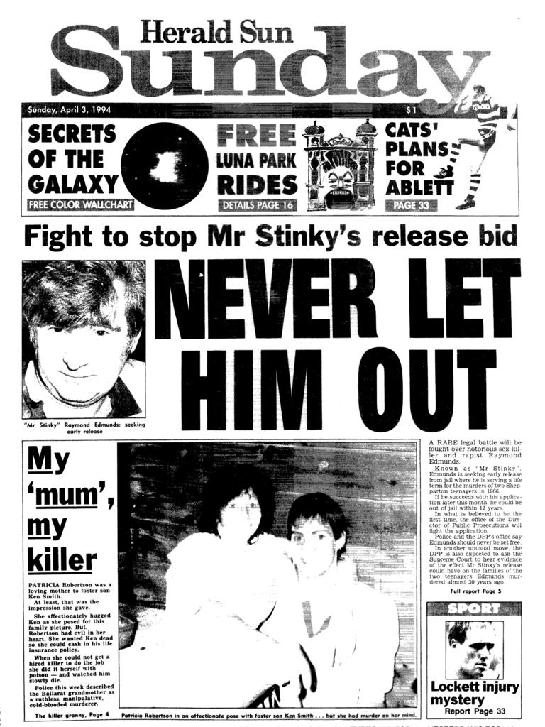 """The """"Mr Stinky"""" front page from the Herald Sun in 1994."""