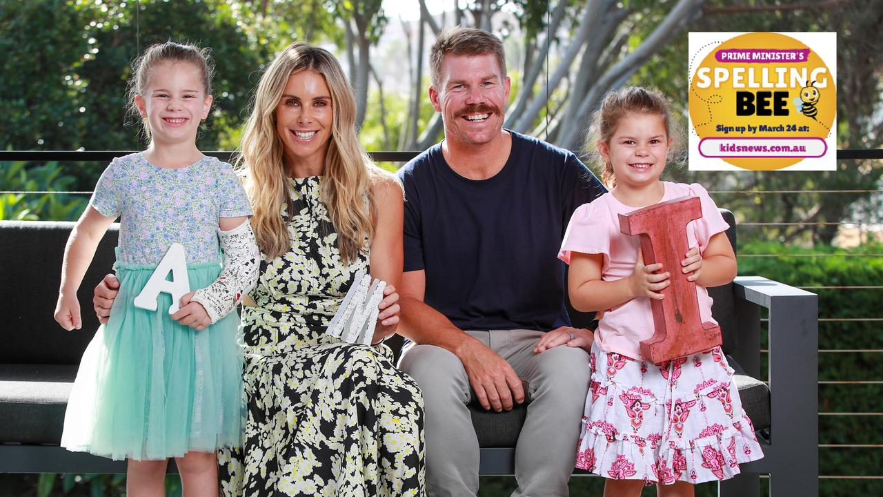 Candice and David Warner with their daughters, Ivy, 6, and Indi, 5, are backing the Prime Minister's Spelling Bee. Picture: Justin Lloyd.