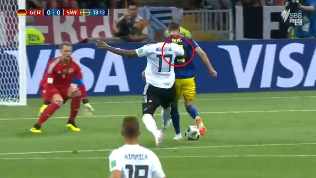 Boateng seemed to shove Berg in the back, while also clipping his leg. But was it a penalty?