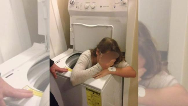 Girl gets stuck in washing machine