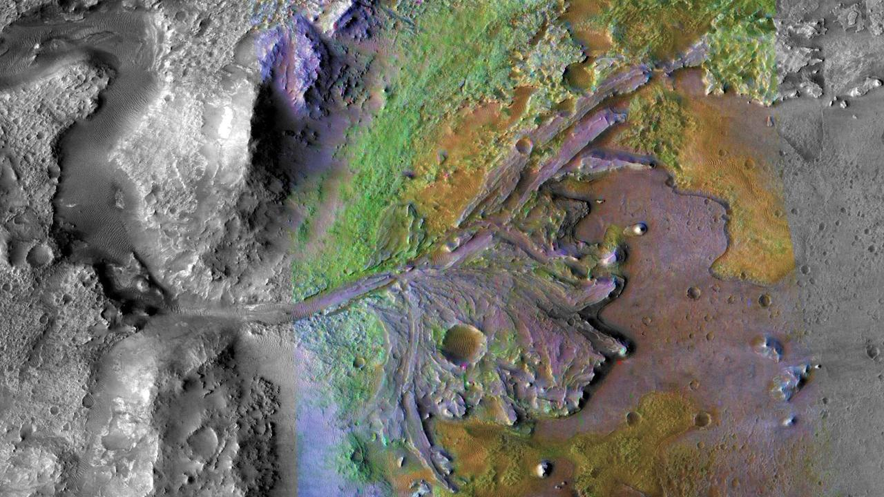 Jezero Crater on Mars, the landing site for NASA's Mars 2020 mission, part of an image taken on December 28, 2019 by instruments on NASA's Mars Reconnaissance Orbiter. Picture: AFP/NASA