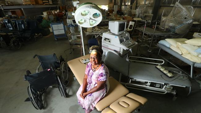 Flinders Uni Ph.D student Shila Paia with equipment from the old RAH that will be sent to her community in PNG, which was hit by an earthquake. Picture: Tait Schmaal