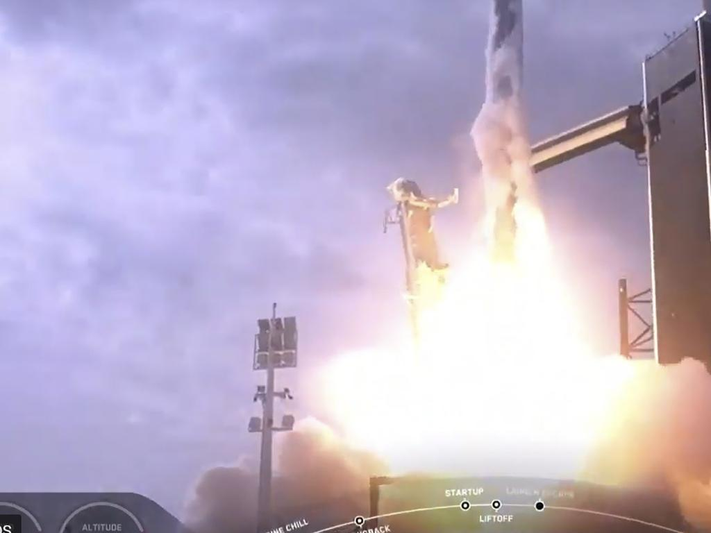 This NASA TV video frame shows SpaceX as it launches. Picture: AFP