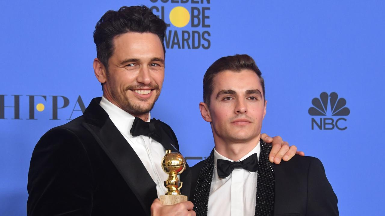 Franco (left, with brother Dave) won the 2018 Golden Globe for best actor. Picture: AFP