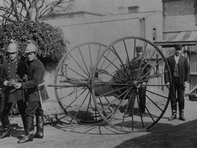 Glenelg's first fire engine. It had two wheels, a hose and was two-man-powered. The photo is undated.