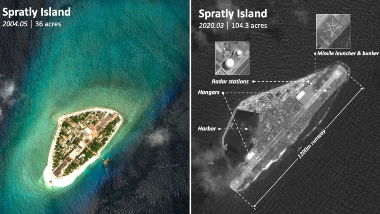 Recent land reclamation and fortification work on the Vietnamese-controlled Spratly Island. Picture: Chinese state-controlled media / SCSPI