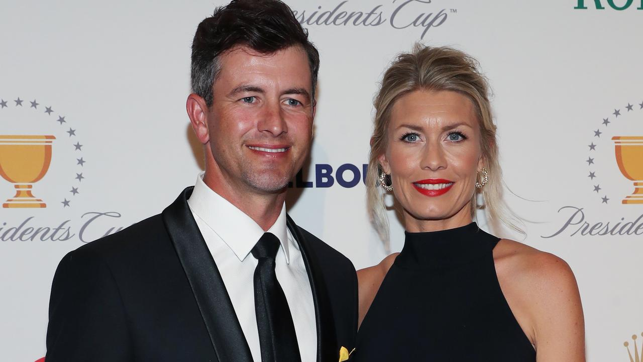 Adam Scott and wife Marie Kojzar. Scott is unlikely to return to play in Australia this year. Picture: AAP Image/David Crosling