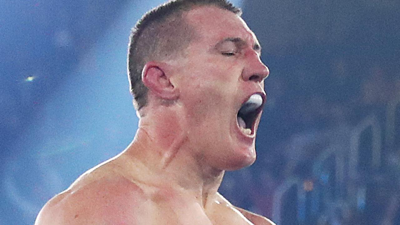 Paul Gallen celebrates defeating Lucas Browne by TKO.