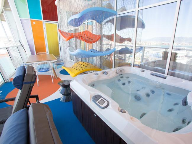 ULTIMATE FAMILY SUITE                    Symphony of the Seas is redefining the cruising experience for families. No need to leave your room if it's the Ultimate Family Suite. Expect two levels of thrills including an in-suite slide, a private game room, an air hockey table and table tennis on your balcony. There's a private jacuzzi there too.