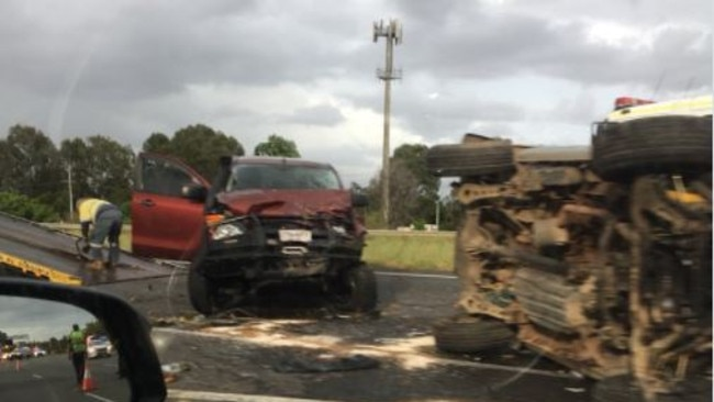 One person was seriously hurt in the two-vehicle crash at Bald Hills. Picture: Twitter/@vk4tec