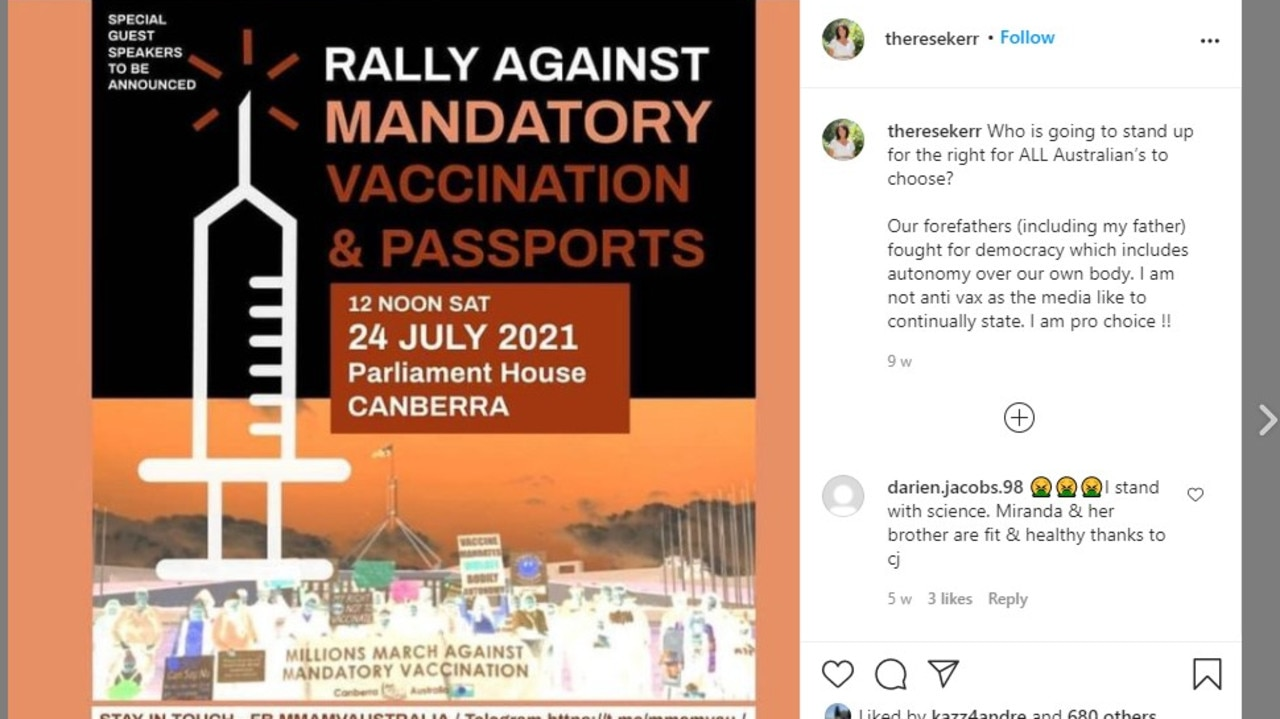 Therese Kerr attended the Newcastle rally against vaccination passports and the jab, citing her father's war record as the reason she promoted freedom. Picture: Instagram/Therese Kerr
