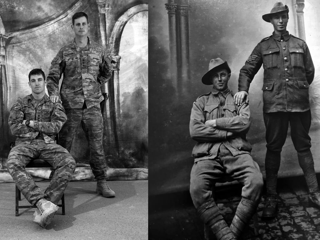 Left side photo L-R: Captain Alexander Bowyer, 28, from Wagga Wagga NSW with Captain Alexander Sanderman, 28, from Medowie NSW. Picture: Gary Ramage. The photograph on the right is an original taken in France during WW1 of Aussie Diggers.