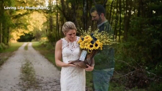 Grieving bride's emotional photo tribute to killed fiance