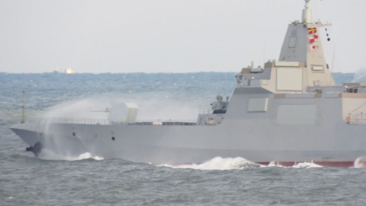 A Type 055 undergoing speed trials. Picture: PLA