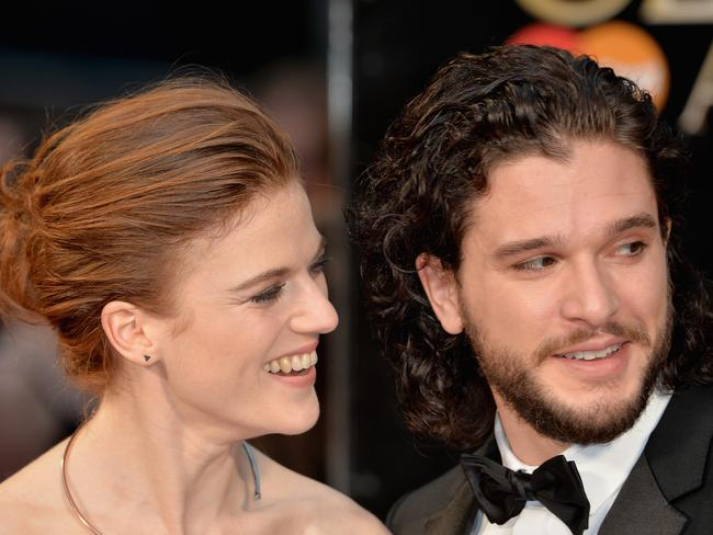Kit Harington with his fiancee, and former GoT co-star, Rose Leslie. Picture: Anthony Harvey/Getty Images