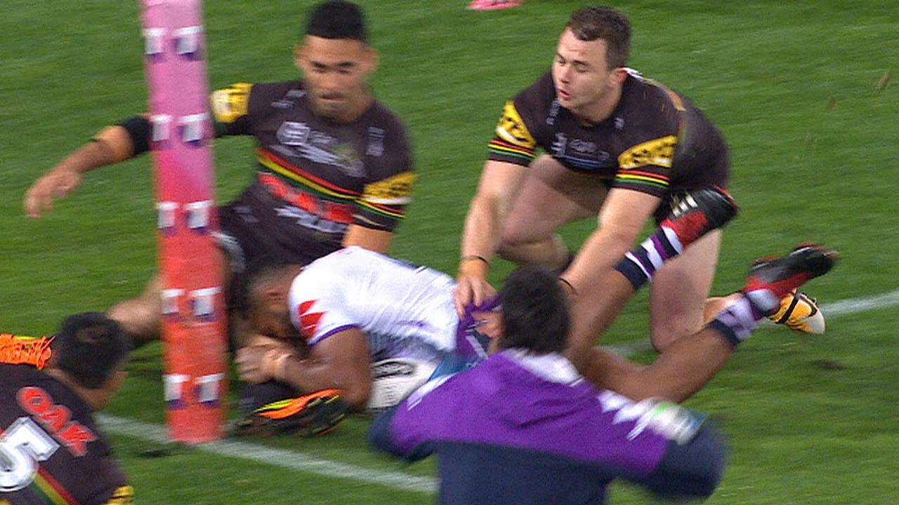 Tyrone May was penalised for stopping a try with his foot.