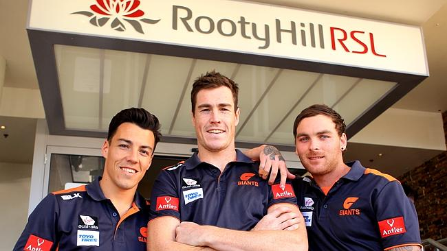 Dylan Shiel, Jeremy Cameron and Nathan Wilson at the Rooty Hill RSL. Picture: Mark Evans