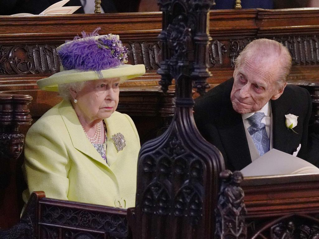 The Queen and Prince Philip at Prince Harry and Meghan Markle's wedding. Picture: AFP