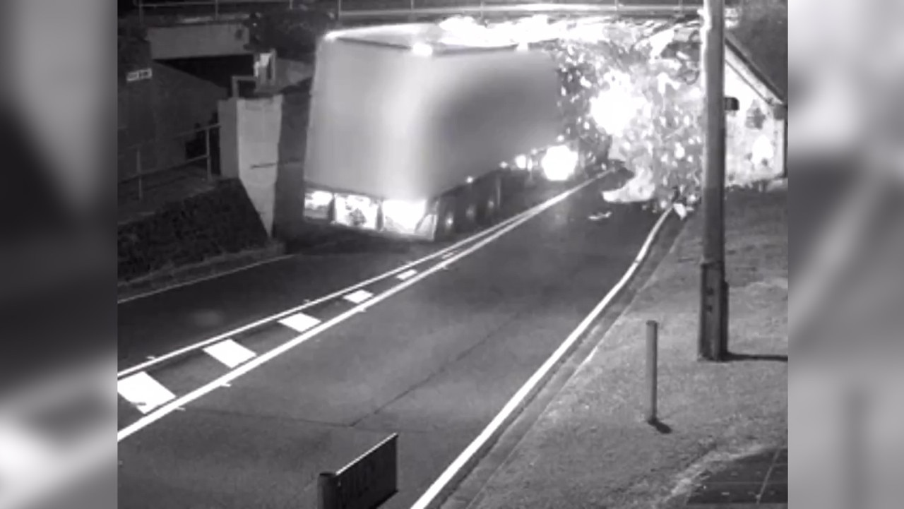 Startling vision shows the truck slam into the bridge at a high speed. Picture: 7News via NCA NewsWire