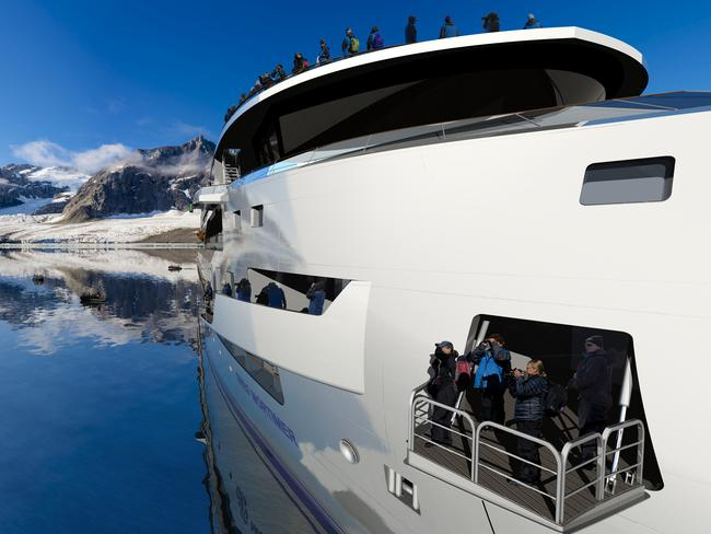 Multiple hydraulic viewing platforms and observation decks ensure passengers never miss a moment. Picture: Aurora Expeditions