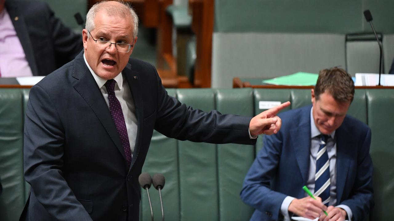 Prime Minister Scott Morrison and Attorney-General Christian Porter during Question Time in the House of Representatives at Parliament House.