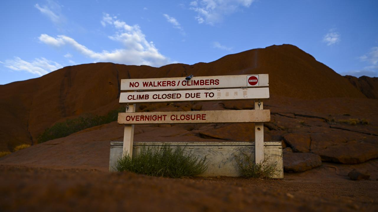 The sign at the climbing area at Uluru. Picture: Lukas Coch/AAP
