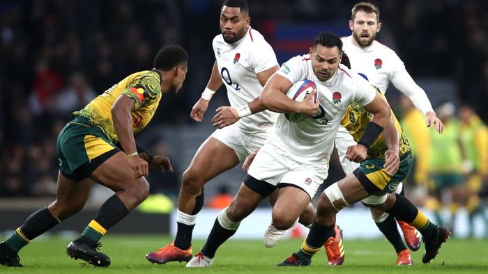 LONDON, ENGLAND - NOVEMBER 24: Ben Te'o of England runs with the ball during the Quilter International match between England and Australia at Twickenham Stadium on November 24, 2018 in London, United Kingdom. (Photo by Julian Finney/Getty Images)