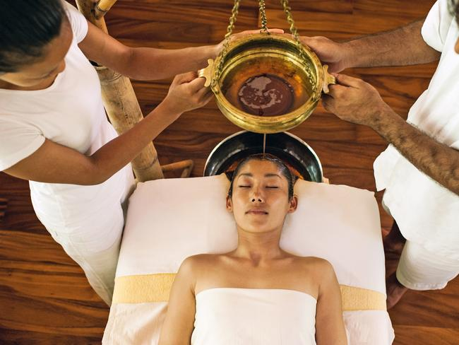 "GET A CURE FOR WHAT AILS YOU At Soneva Fushi, guests can pair their Maldives break with a program of ayurvedic treatments to help restore balance. The in-house Six Senses spa offers traditional therapies to reduce stress, improve sleep and delay ageing. The ancient Indian ""science of life"" infiltrates the food menu too with detoxifying teas, fresh juice shots, and traditional tonics."