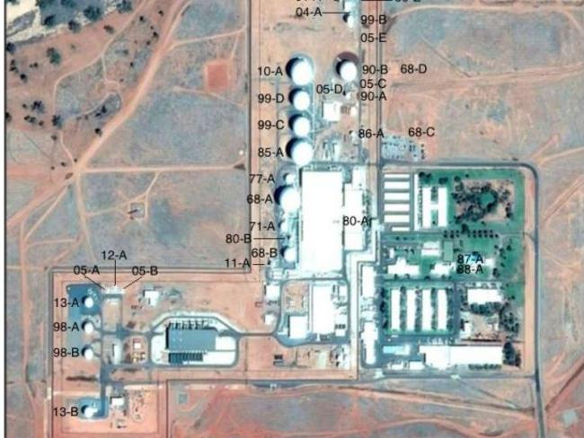 This Google Earth image taken last year reveals the extent of the antenna systems at Pine Gap. Picture: Nautilus