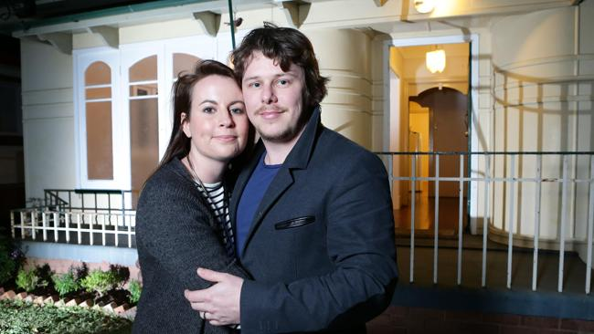 Brisbane couple Megan and Michael Hughes are happy to have bought their own house.  Picture: Darren England.