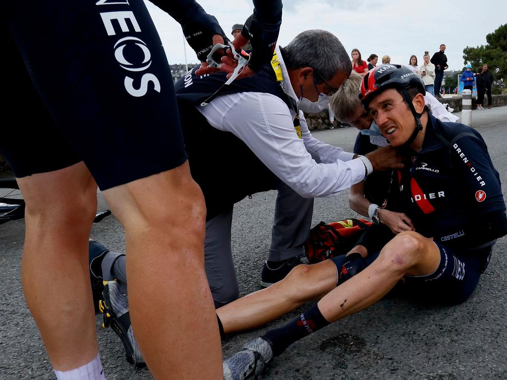 Geraint Thomas was in a world of pain. (Photo by Thomas SAMSON / AFP)