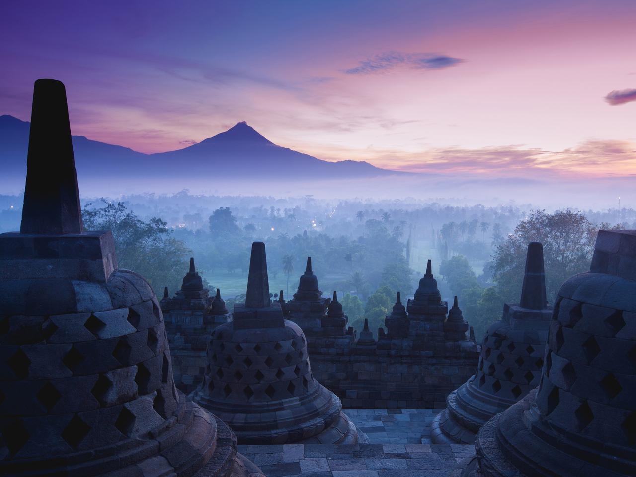 Borobudur Temple is sunrise, Yogyakarta, Java, Indonesia.