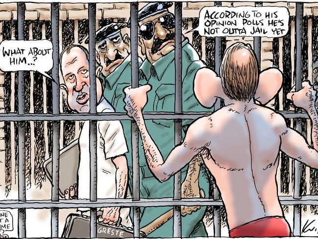 "Mark Knight says Abbott's ""not outta jail next""."