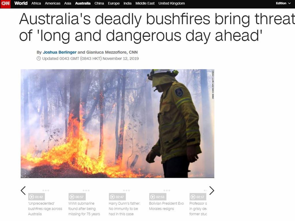 CNN's rolling coverage of the fires. Picture: Supplied