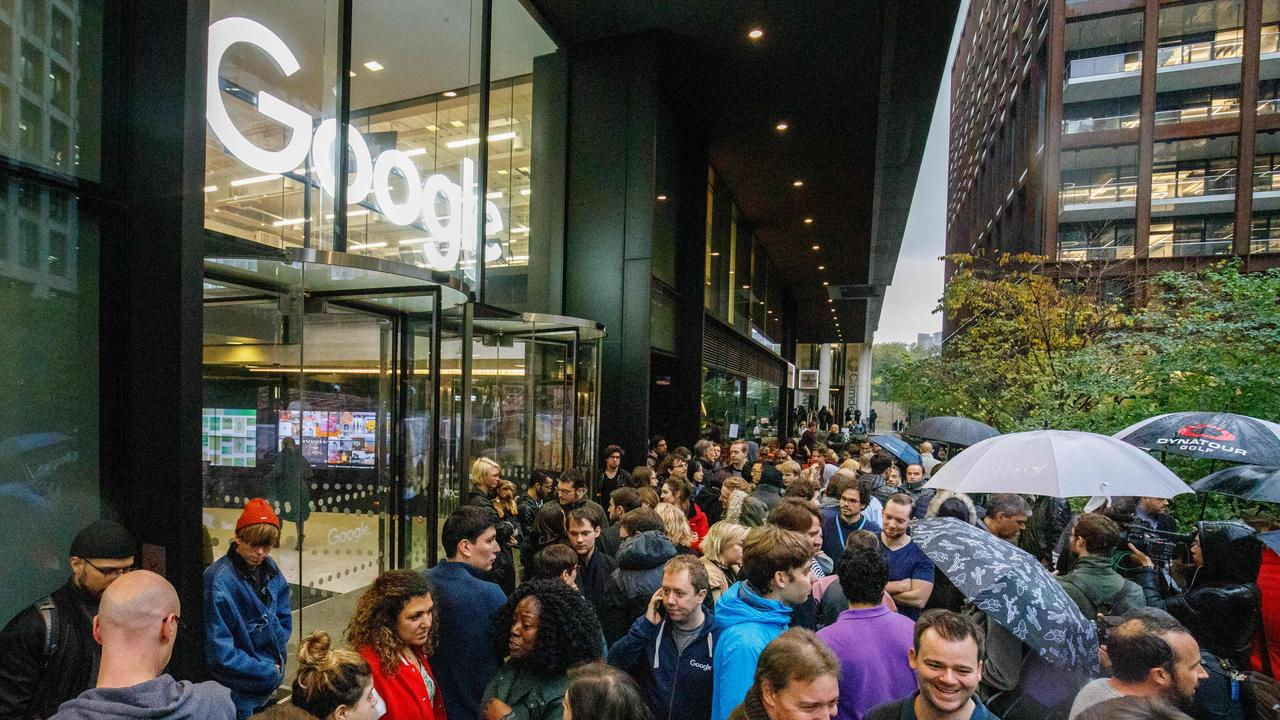 Google staff stage a walkout at the company's UK headquarters in London on November 1, 2018 as part of a global campaign. Picture: Tolga Akmen / AFP