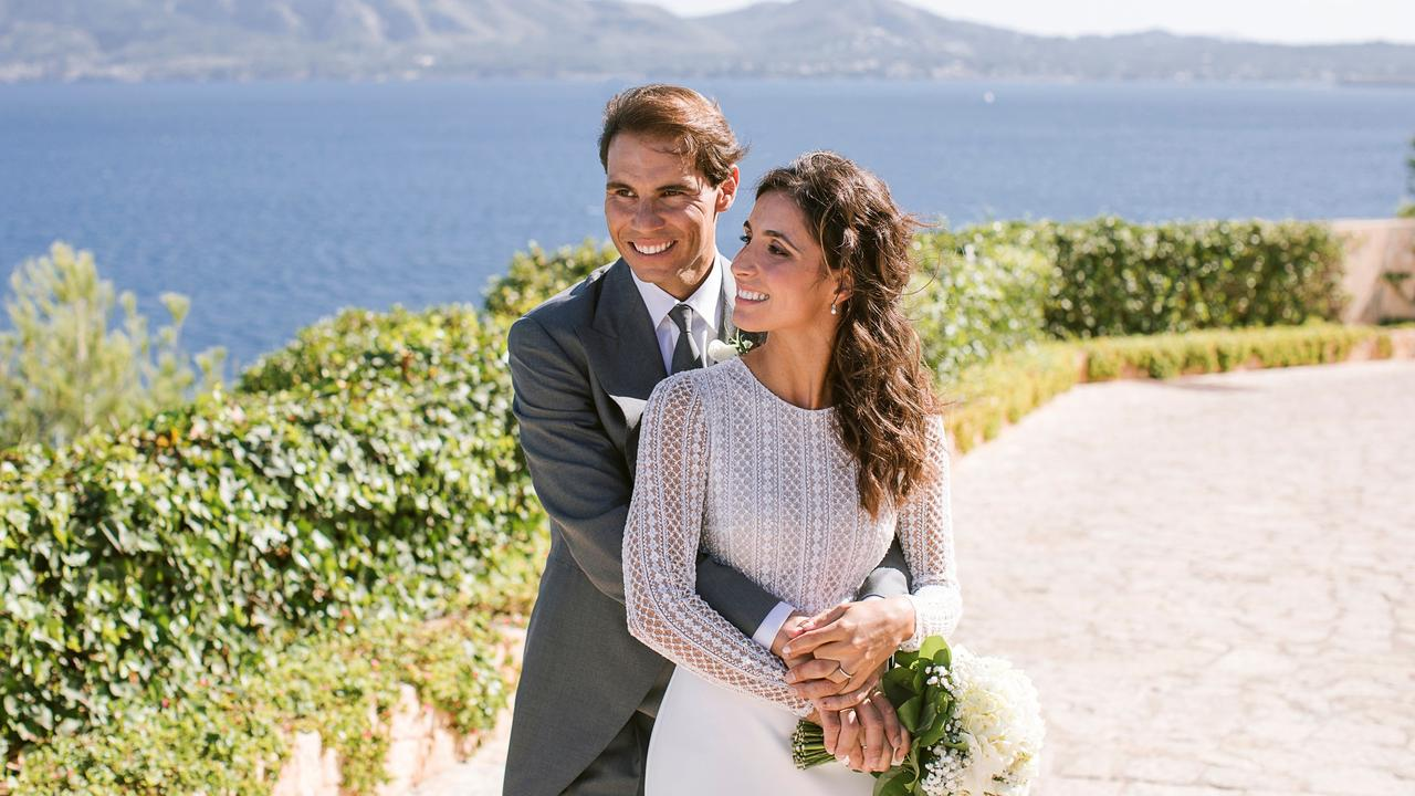 Rafael Nadal and Xisca, who is project director for The Rafa Nadal Foundation, married in front of star guests. Picture: Fundacion Rafa Nadal via Getty Images