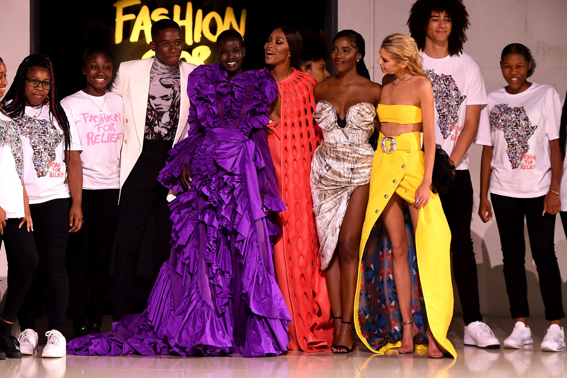 The runway's finale, including students from Elmgreen School and Chrome Hearts's quilted spider web skirt. Image credit: Getty Images