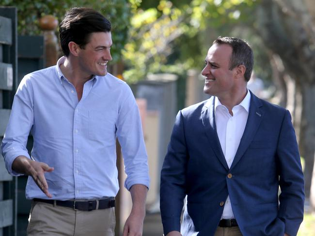 Tim Wilson (right) with his partner Ryan Bolger. Picture: David Geraghty/The Australian
