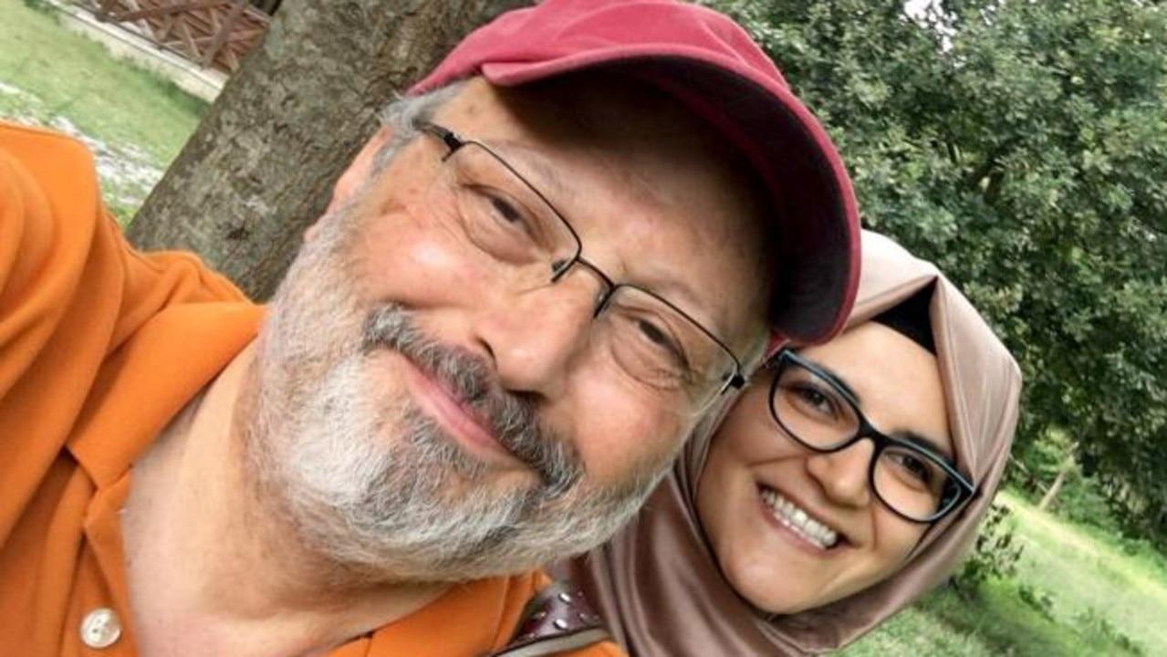 Jamal Khashoggi with fiancee Hatice Cengiz.