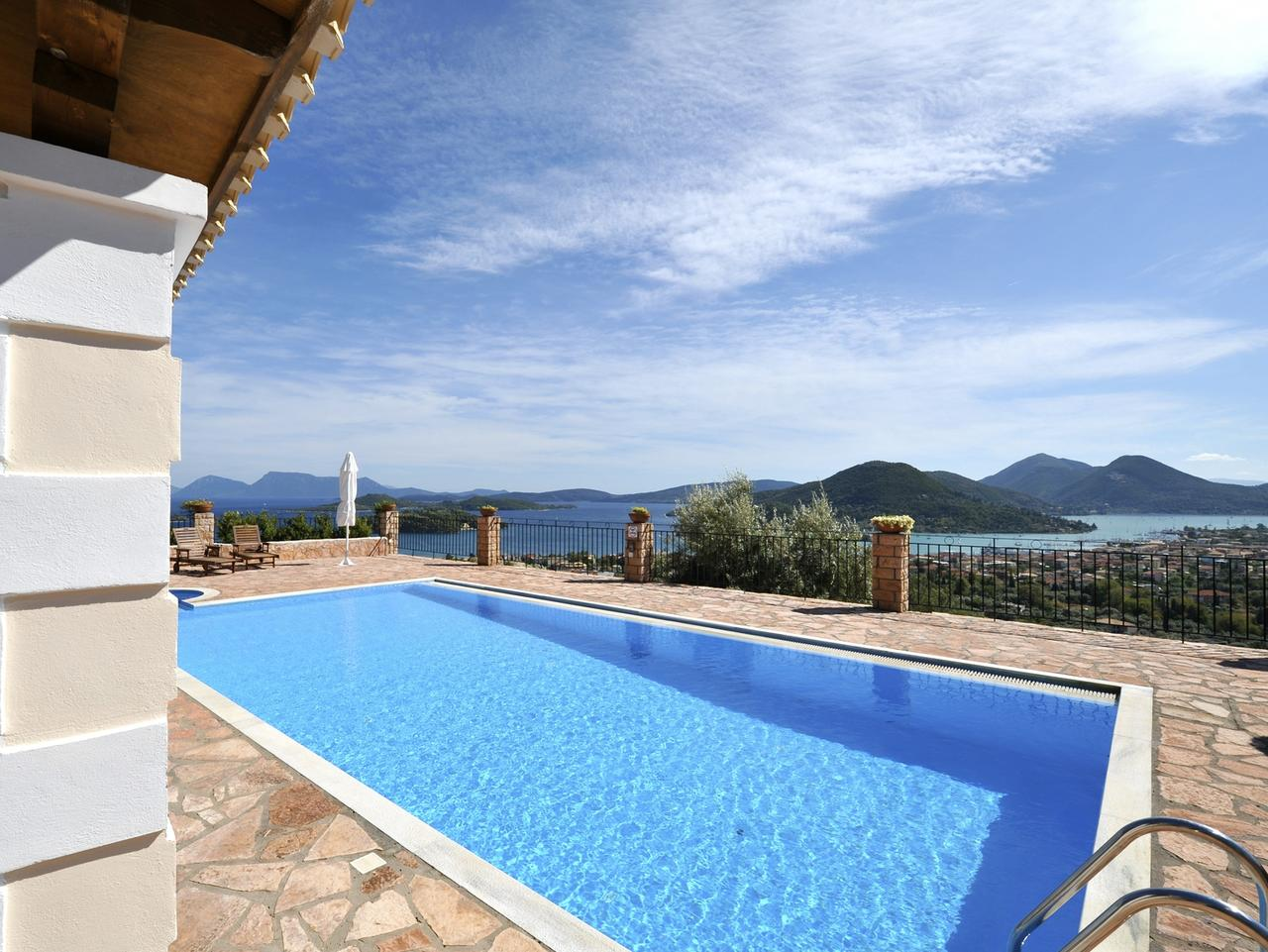 Holiday vacation villa with an excellent view towards Meganissi.