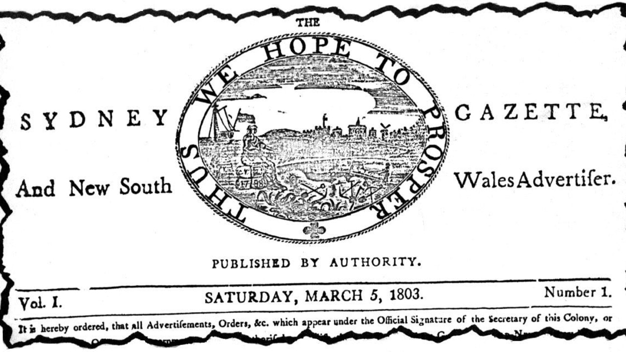 Masthead of the first edition of The Sydney Gazette.