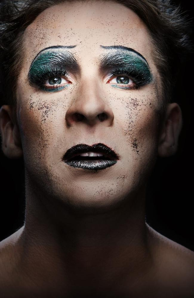 Hugh Sheridan made up as Hedwig, from the musical.
