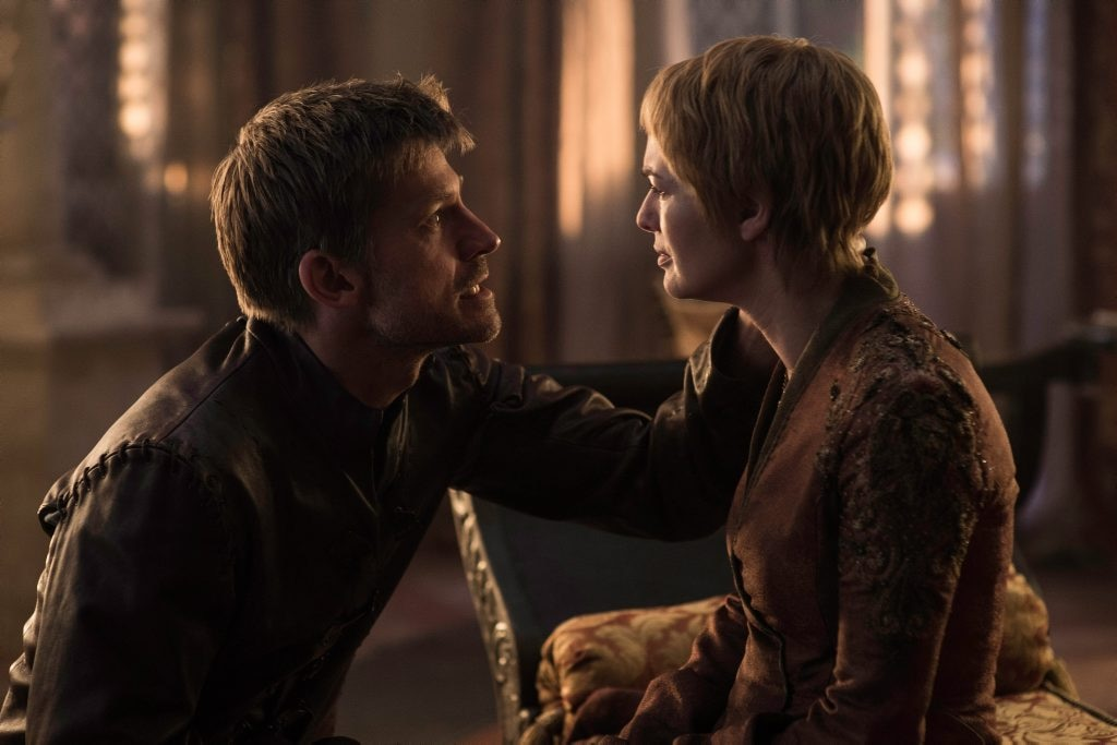 Nikolaj Coster-Waldau and Lena Headey in a scene from season six of Game of Thrones. . Picture: Helen Sloan