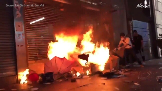 Hong Kong anti-mask law protests turn violent