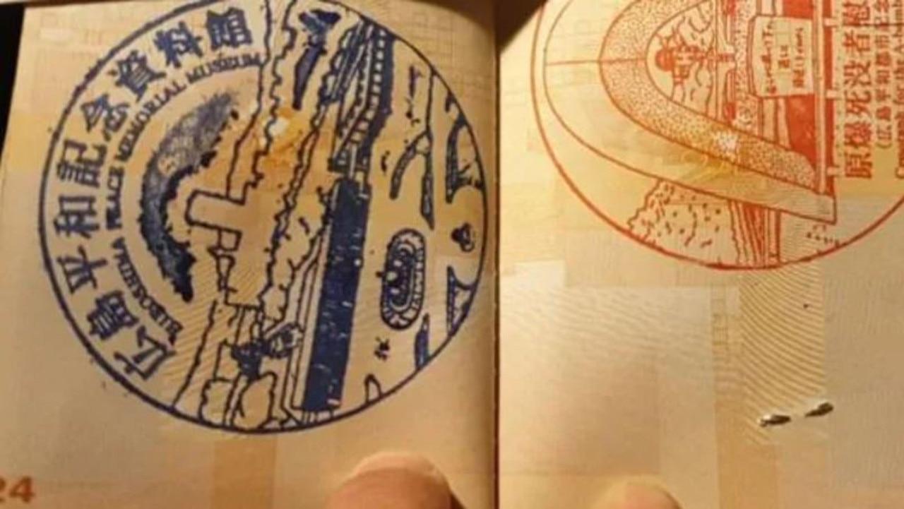 Souvenir passport stamps from the Hiroshima Peace Memorial Museum.