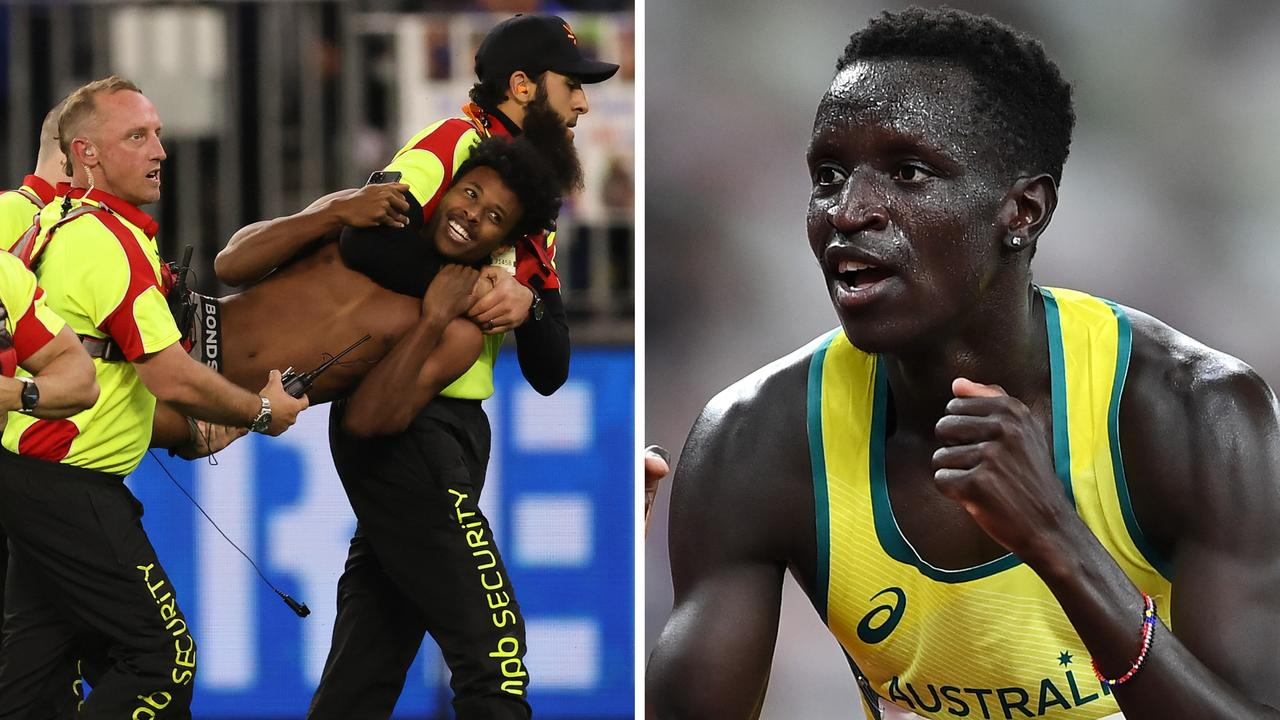 Grand Final pitch invader Abra Bol is Olympian Peter Bol's cousin.